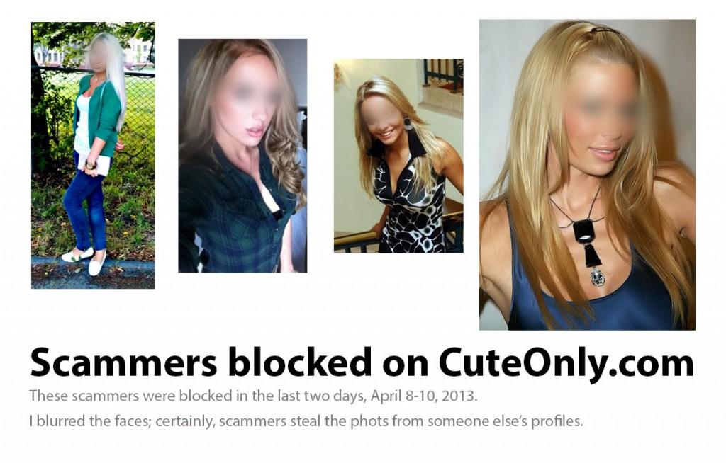 Scammers, catched on CuteOnly, the Russian dating site